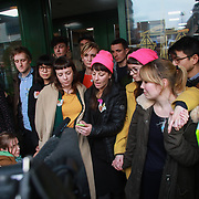 May MacKeith of the Stansted 15 reads out a statement to the media and celebrate after sentencing at Chelmsford Crown court, 6th of February 2019, Chelmsford, United Kingdom. The group of fifteen activists stopped a Home Office deportation charter flight in Stansted in 2017. The activists were charged under the terrorism law and 12 were sentenced community service and 3 were sentenced suspended 9 months prison sentences.