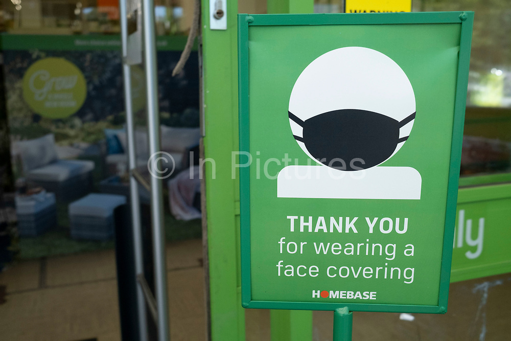 Thank you for wearing a face covering sign outside Homebase on 7th August 2020 in Birmingham, United Kingdom. Coronavirus or Covid-19 is a respiratory illness that has not previously been seen in humans. While much or Europe has been placed into lockdown, the UK government has put in place more stringent rules as part of their long term strategy, and in particular social distancing.