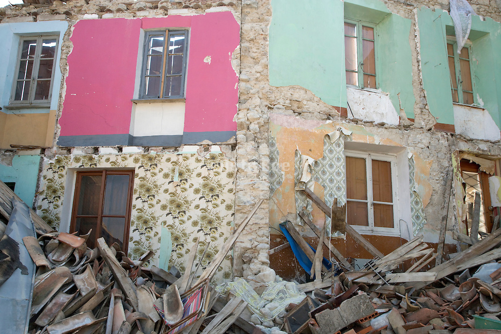 detail of a totally collapsed house
