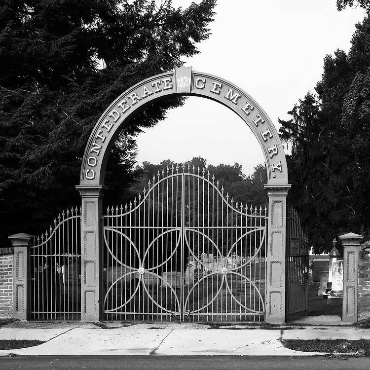 Main gate to the Confederate Cemetery in Fredericksburg, Virginia.