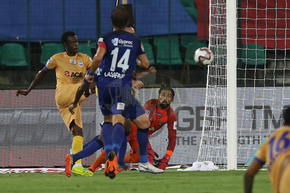 Modou Sougou of Mumbai City FC takes a shot to score a goal during match 27 of the Hero Indian Super League 2018 ( ISL ) between Chennaiyin FC  and Mumbai City FC  held at the Jawaharlal Nehru Stadium, Chennai, India on the 3rd November 2018<br /> <br /> Photo by: Faheem Hussain /SPORTZPICS for ISL