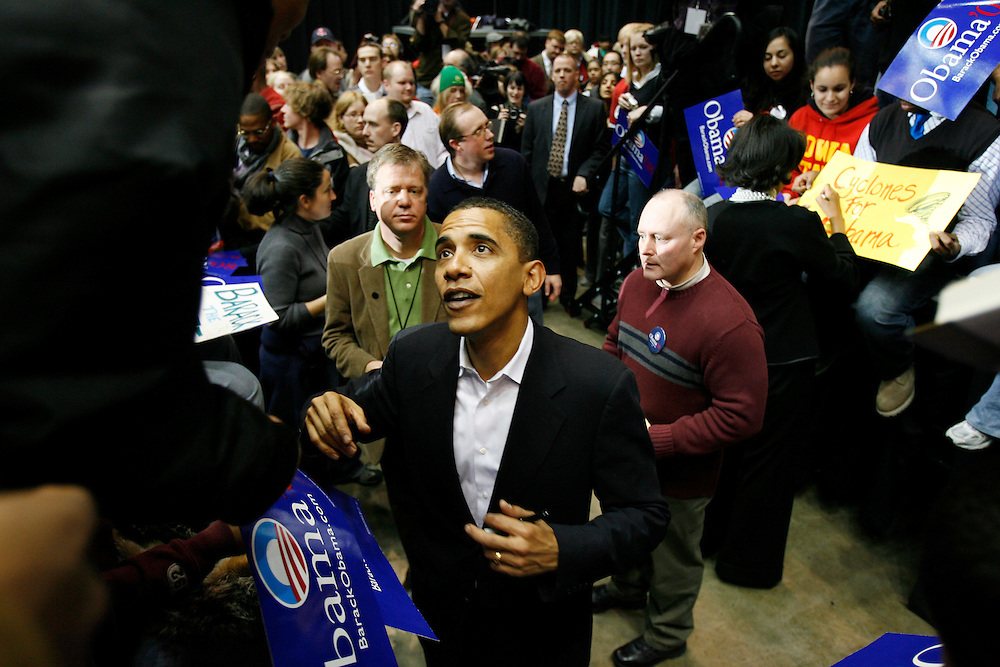 2/11/07 -- Waterloo, IA, U.S.A.Illinois U.S. Senator Barack Obama talks to supporters and signs autographs after giving a campaign speech at a rally the Hilton Coliseum in Ames, Iowa one day after declaring his candidacy for President.