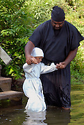 Traditional African american baptisms at Moon Lake Mississippi.(Photo/© Suzi Altman) Description/Caption:<br /> A 100 yr. Tradition of rural African American Baptisms on Moon Lake, in the Mississippi Delta held once a year in the same spot on the lake. The First candidate for baptism is pictured in the water before he is Baptised. (photo© Suzi Altman)