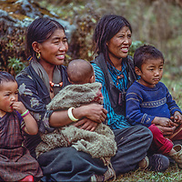 Village women wait to see a visiting doctor in Nepal