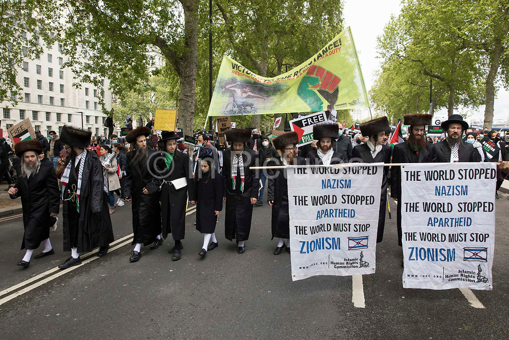 Ultra-Orthodox anti-Zionist Haredi Jews from Neturei Karta UK take part in the National Demonstration for Palestine on 22nd May 2021 in London, United Kingdom. The demonstration was organised by pro-Palestinian solidarity groups in protest against Israels recent attacks on Gaza, its incursions at the Al-Aqsa mosque and its attempts to forcibly displace Palestinian families from the Sheikh Jarrah neighbourhood of East Jerusalem.