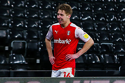 A relieved Jamie Lindsay of Rotherham United at full time after his goal gave his side all 3 points - Mandatory by-line: Ryan Crockett/JMP - 16/01/2021 - FOOTBALL - Pride Park Stadium - Derby, England - Derby County v Rotherham United - Sky Bet Championship