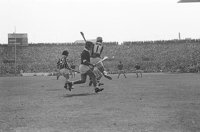 Kilkenny jumps to catch the slitor during at the All Ireland Senior Hurling Final, Cork v Kilkenny in Croke Park on the 3rd September 1972. Kilkenny 3-24, Cork 5-11.