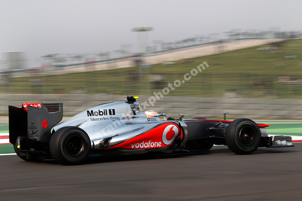 Lewis Hamilton (McLaren-Mercedes) during Friday practice the 2012 Indian Grand Prix at the Buddh International Circuit outside Delhi. Photo: Grand Prix Photo