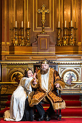 © Licensed to London News Pictures. 22/01/15. Guildford. Brian Blessed stars alongside his daughter Rosalind in the Guildford Shakespeare Company production.  Brian Blessed plays King Lear  at the Holy Trinity Church in Gildford.  On Monday 19th January 2015 Brain Blessed collapsed during his performance but returned to the stage after a twenty minute pause. . Photo credit : Matt Pereira/LNP