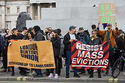 London, UK. 1st May, 2021. Supporters of the London Renters Union attend a Kill The Bill demonstration as part of a National Day of Action to mark International Workers Day. Nationwide protests have been organised against the Police, Crime, Sentencing and Courts Bill 2021, which would grant the police a range of new discretionary powers to shut down protests.