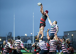 Dragons' Cory Hill claims the lineout<br /> <br /> Photographer Simon King/Replay Images<br /> <br /> Guinness Pro14 Round 11 - Dragons v Cardiff Blues - Tuesday 26th December 2017 - Rodney Parade - Newport<br /> <br /> World Copyright © 2017 Replay Images. All rights reserved. info@replayimages.co.uk - www.replayimages.co.uk