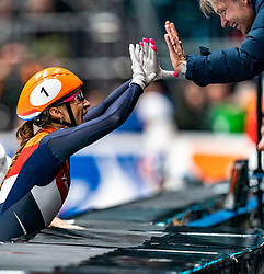 Suzanne Schulting win the final 1500 meter during ISU World Cup Finals Shorttrack 2020 and celebrate with Coach Jeroen Otter on February 15, 2020 in Optisport Sportboulevard Dordrecht.