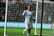 Swansea city's Michu celebrates after he  scores the 1st goal. Barclays Premier league, Swansea city v Queens Park Rangers at the Liberty Stadium in Swansea, South Wales on Saturday  9th Feb 2013. pic by Andrew Orchard, Andrew Orchard sports photography,