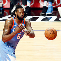 18 March 2018: LA Clippers center DeAndre Jordan (6) passes the ball during the Portland Trail Blazers 122109 victory over the LA Clippers, at the Staples Center, Los Angeles, California, USA.