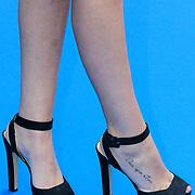 NLD/Amsterdam/20120923- Premiere musical De Jantjes, Marly van der Velden tattoe op haar voet