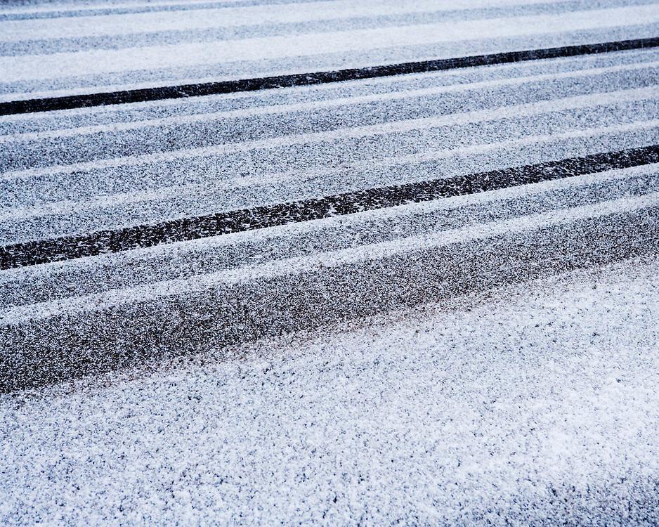 Tyre tracks lines on fresh snow