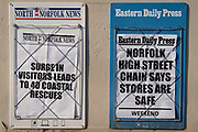 A detail of two East Anglian local newspaper headlines during the Coronavirus pandemic,  on 9th August 2020, in Stalham, Norfolk, England.