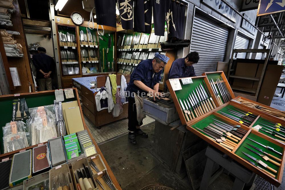 Tokyo, Tsukiji wholesale fish market knife sharpening and sale shop
