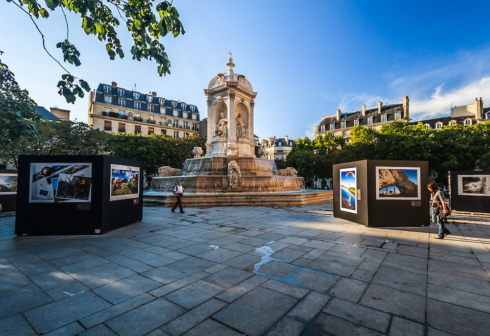 """The fountain of the """"Four Bishops"""" at Place Saint-Sulpice, in Paris, France. The fountain of the """"Four Bishops"""" built in 1844 was designed by Joachim Visconti."""