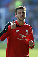 Adam Lallana of Liverpool warms up prior to ko. Barclays Premier League match, Everton v Liverpool at Goodison Park in Liverpool on Sunday 4th October 2015.<br /> pic by Chris Stading, Andrew Orchard sports photography.