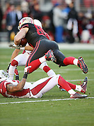 San Francisco 49ers tight end Vance McDonald (89) dives for extra yardage as he catches a second quarter pass for a gain of 15 yards and a first down during the 2015 week 12 regular season NFL football game against the Arizona Cardinals on Sunday, Nov. 29, 2015 in Santa Clara, Calif. The Cardinals won the game 19-13. (©Paul Anthony Spinelli)