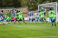Players appeal but referee gives no goal during the Vanarama National League match between Forest Green Rovers and Chester FC at the New Lawn, Forest Green, United Kingdom on 14 April 2017. Photo by Shane Healey.