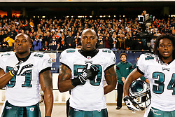 Philadelphia Eagles linebacker Will Witherspoon #50 during singing of the National Anthem before the NFL game between the Philadelphia Eagles and the Chicago Bears on November 22nd 2009. The Eagles won 24-20 at Soldier Field in Chicago, Illinois. (Photo By Brian Garfinkel)