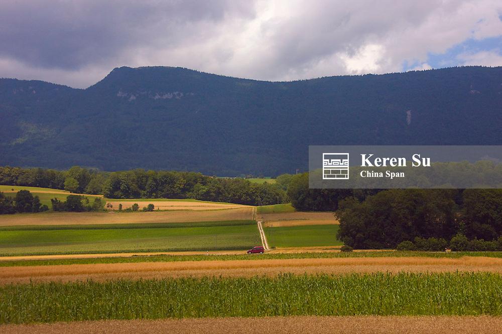 Farmland and farm house, Geneva area, Switzerland