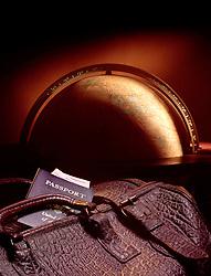 large globe leather suitcase passport tickets copy CONCEPT STOCK PHOTOS CONCEPT STOCK PHOTOS