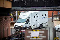 © Licensed to London News Pictures. 05/10/2018. Leeds UK. A prison van arrives at Leeds Crown Court this morning where Shahid Mohammed will appear today. Shahid Mohammed has been extradited from Pakistan where he was arrested three years ago. He has been charged with eight counts of murder & one count of conspiracy to commit arson with intent to endanger life. The charges relate to the deaths of five sisters, their mother, uncle & grandmother on May 12, 2002 in Birkby, Huddersfield. Nafeesa Aziz, 35, and her five daughters - Tayyaba Batool age 3, Rabiah Batool age 10, Ateeqa Nawaz age 5, Aneesa Nawaz age 2, and Najeeba Nawaz age six-months-old - were killed in the fire. The children's uncle Mohammed Ateeq-ur-Rehman, 18, also died in the fire and their grandmother, Zaib-un-Nisa, 54, died a week later in hospital after jumping from an upstairs window. Photo credit: Andrew McCaren/LNP
