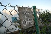 No Bicycle wood sign in La Mola, Formentera