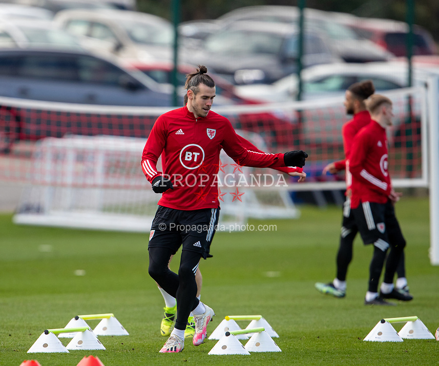 CARDIFF, WALES - Tuesday, March 23, 2021: Wales' captain Gareth Bale training in front of a car park during a training session at the Vale Resort ahead of the FIFA World Cup Qatar 2022 Qualifying game against Belgium. (Pic by David Rawcliffe/Propaganda)