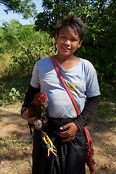 Woman With Rooster,  Gubyaukgyi Temple (Myinkaba)