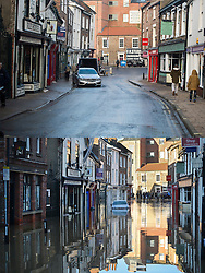 ** Composition showing before and after pictures of floods in York** © Licensed to London News Pictures. 29/12/2015. York, UK.  Flooding Walmgate in central York pictured BOTTOM on December 27th and TOP December 29th (TODAY). Photo credit: Ben Cawthra/LNP