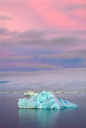 Glorious morning sunrise in Paulet Island, Antarctica, giving me a pink sky and blue iceberg.