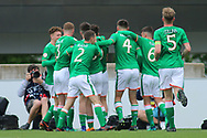 Republic of Ireland celebrate their goal during the UEFA European Under 17 Championship 2018 match between Bosnia and Republic of Ireland at Stadion Bilino Polje, Zenica, Bosnia and Herzegovina on 11 May 2018. Picture by Mick Haynes.