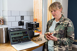 Mum Nancy, 43, an events planner is able to keep on top of work from home thanks to BT Wifi. Real-life case study campaign, showcasing BT's complete Wi-Fi offering. London, May 16 2019.