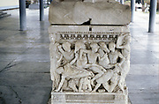 Soldiers in battle. Scene from foot of sarcophagus c300 BC. Thessaloniki Museum