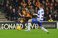 Hull City midfielder Moses Odubajo shoots at goal during the Sky Bet Championship match between Hull City and Reading at the KC Stadium, Kingston upon Hull, England on 16 December 2015. Photo by Ian Lyall.