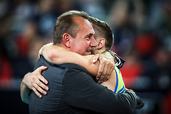 Metod Ropret, president of OZS and Jani Kovacic #13 (SLO) at celebration of victory after volleyball match between National teams of Slovenia and Poland in semifinal of 2019 CEV Volleyball Men's European Championship in Ljubljana, on September 26, 2019 in Arena Stozice. Ljubljana, Slovenia. Photo by Matic Klansek Velej / Sportida