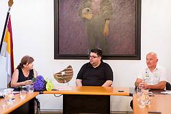 Mojca Novak, Tomaz Vencelj in Bogdan Fink, 26. dirka Po Sloveniji / Tour of Slovenia 2019, Naj gostitelj, on July 3, 2019 in Idrija, Idrija, Slovenia. Photo by Ziga Zupan / Sportida
