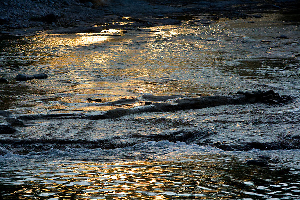 The Frio River in the Texas Hill Country at dusk