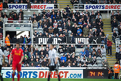 27.04.2013, St. James Park, Newcastle, ENG, Premier League, Newcastle United vs FC Liverpool, 35. Runde, im Bild Newcastle United supporters head for the exits at 5-0 with 16 minutes left during during the English Premier League 35th round match between Newcastle United and Liverpool FC at the St. James Park, Newcastle, Great Britain on 2013/04/27. EXPA Pictures © 2013, PhotoCredit: EXPA/ Propagandaphoto/ David Rawcliffe..***** ATTENTION - OUT OF ENG, GBR, UK *****