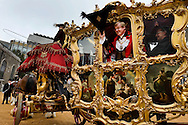 The 684th Lord Mayor of London, David Wootton, in the Lord Mayor's Coach, at Guildhall just before the beginning of the parade. The Lord Mayor's Show, London, UK (12 November 2011)