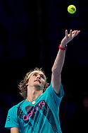 Alexander 'Sasha' Zverev of Germany during the practice session ahead of his finals match during the Nitto ATP Tour Finals at the O2 Arena, London, United Kingdom on 18 November 2018. Photo by Martin Cole