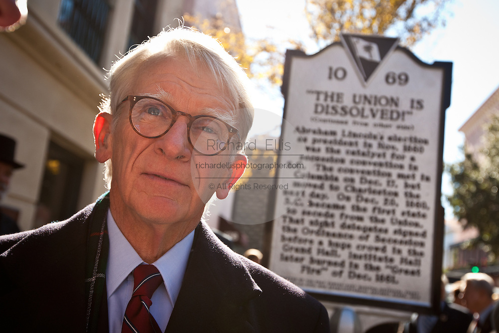 CHARLESTON, SC - DECEMBER 20: Charleston Mayor Joe Riley unveils a historical marker December 20, 2010 in observance of the 150th Anniversary of South Carolina's Secession from the Union in Charleston, SC. South Carolina was the first state to secede resulting in the US Civil War.  (Photo by Richard Ellis/Getty Images)