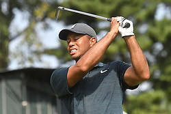 August 9, 2018 - St. Louis, Missouri, U.S. - Tiger Woods reacts to his shot on the #16 tee during the first round of the PGA Championship on August 09, 2018, at Bellerive Country Club. (Credit Image: © Keith Gillett/Icon SMI via ZUMA Press)