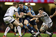 Alex Cuthbert © of the Cardiff Blues runs at Dafydd Howels of the Ospreys. Guinness Pro12 rugby match, Judgement day, Cardiff Blues v Ospreys  at the Principality Stadium in Cardiff, South Wales on Saturday 15th April 2017. <br /> pic by Andrew Orchard, Andrew Orchard sports photography.