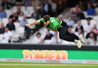 Cricket - 2021 Inaugural The Hundred: Men - The Eliminator - Southern Brave vs Trent Rockets - The Kia Oval - Friday 20th August 2021<br /> <br /> Southern Braves' George Garton in action during todays play.<br /> <br /> COLORSPORT/Ashley Western