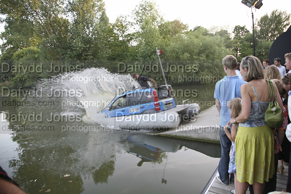 Amphibious Fiat Panda, Fiat Pandamonium launch , Stephen Bayley and  Guilio Salamone MD of Fiat launch new amphibious car,  Fiat Amphibia.The Boathouse, Battersea Park Lake, London, 20 July 2006.<br />